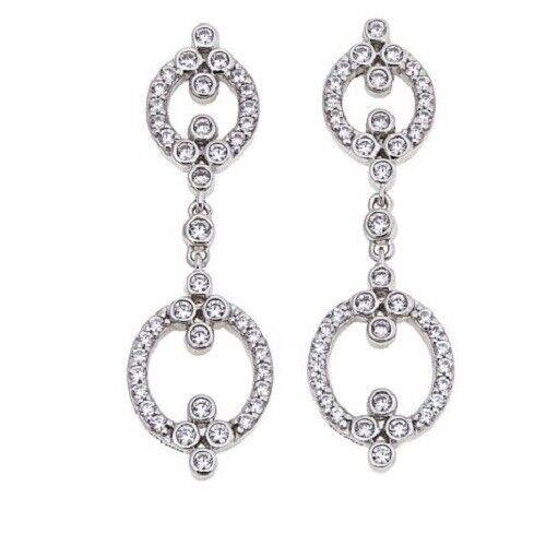 """Leslie Greene 1.46ctw Zircone Cubique /""""Lafayette/"""" Sterling Silver Boucles d/'oreilles pendantes HSN 65 $"""