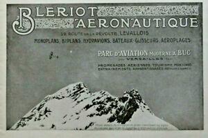 PUBLICITE-DE-PRESSE-1914-BLERIOT-AERONAUTIQUE-MONOPLAN-PARC-D-039-AVATION-A-BUC