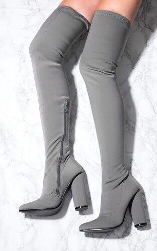 Sans doute pour femme cuissardes Lycra bottes-Gris-Tailles UK 3-8