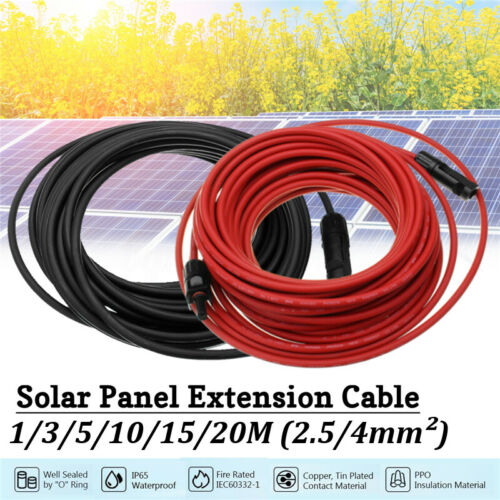 2Pcs Black+Red Solar Panel Extension Cable Wire Connector 10//12 AWG  3