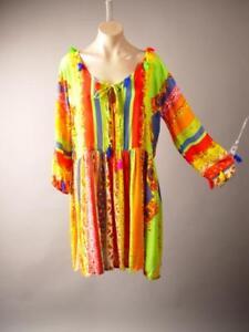 Bright-Stripe-Moroccan-Gypsy-Boho-Hippie-60s-70s-Babydoll-Shift-254-mv-Dress-S-M