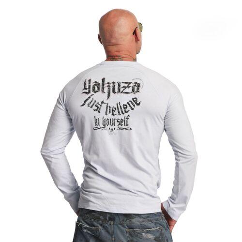 "YAKUZA Herren Longsleeve LSB 10033 /""Just Believe/"" gray dawn weißgrau"
