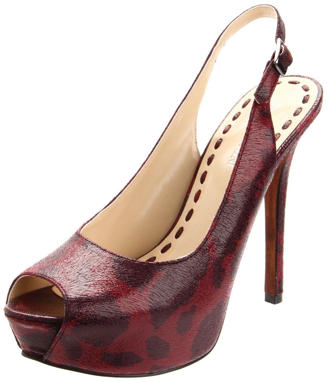 Enzo Angiolini Tolten Dark ROT Cheetah Peep Toe Leder Slingback Schuhes