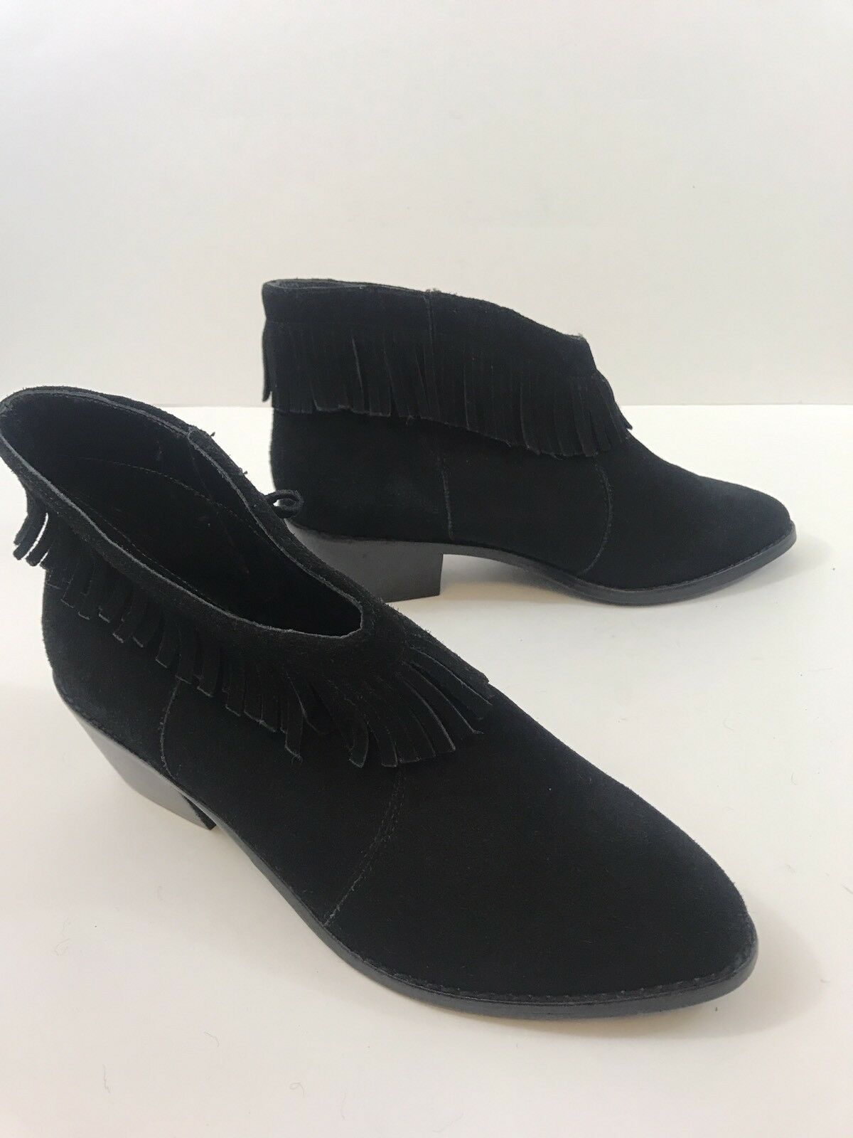 WOMENS NWOT Joie BLACK Suede Fringe Detail Ankle Boots Size Size Size 37.5  1 51eae5