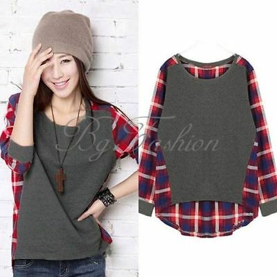 S-XXL Stylish Plaid&Checked Print Splice Oversize Loose Baggy Top Blouse T Shirt