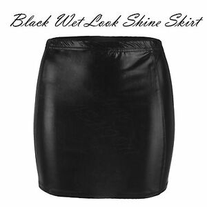 Ladies-Womens-Black-Elasticated-Wet-Look-Shiny-Back-Zip-Mini-Faux-Leather-Skirt