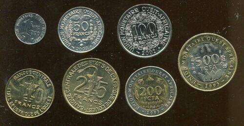West Africa Full Set of 7 Coins,UNC bimetal