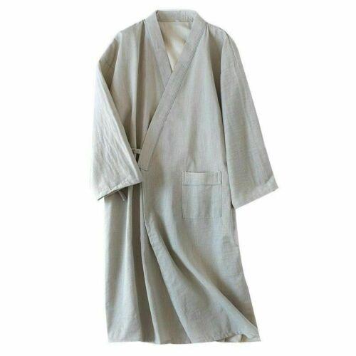 Herren Kimono Yukata Schlafanzüge Baumwolle Japanisch Bademantel Robe Abendkleid