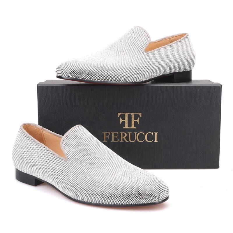 Men FERUCCI  Slippers Loafers Flat With Clear Crystal GZ Rhinestone