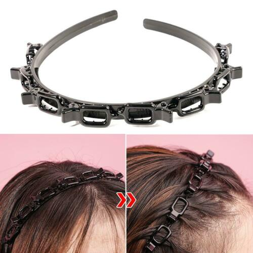 Details about  /Women Double Bangs Hairstyle Hairpin Headband Clips Hair Band Hollow Woven Bangs