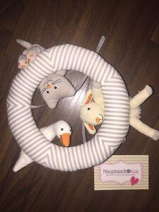 Details Zu Ikea Leka Mobile Pluschtier Ring Katze Grau Weiss Schaf Gans Bett Baby Hangt