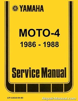 1986-1988 yamaha yfm225 moto-4 atv printed service manual | ebay  ebay