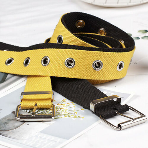 Studded Grommet Holes Canvas Belt Buckle Eyelet Stud Women Fashion Waistband ~GQ
