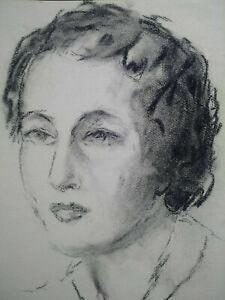 Superbe portrait années 1940 - 1950 visage femme Art Déco dessin fusain charbon