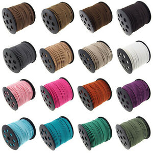 3-100M-Genuine-leather-Suede-Cord-Beading-Thread-Lace-Flat-Jewellery-Making-3MM