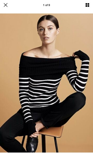 Brand New Country Road Knit Top. Off The Shoulder. Black White XS RRP $139.00