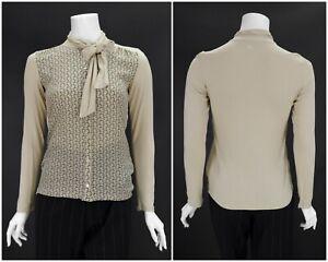 Womens-Weekend-Max-Mara-Jersey-Jumper-Blouse-Shirt-Brown-Viscose-Size-XS