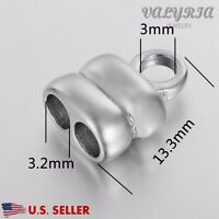 Wholesale Stainless Steel Leather Cord Ends Caps Findings Fit For 3mm Dia Cord
