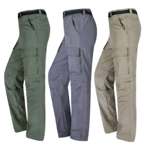 Mens Outdoor Cargo Work Pants Cotton Shorts Hiking Removable Zipper Off Trousers