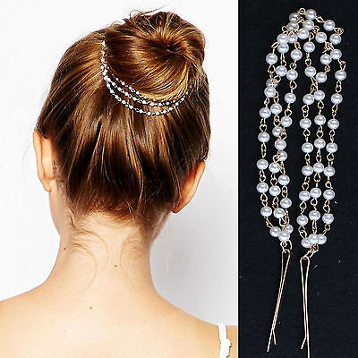 Women Fashion Double Layer Pearl Beads Head Chain Headband Head Piece Hair band
