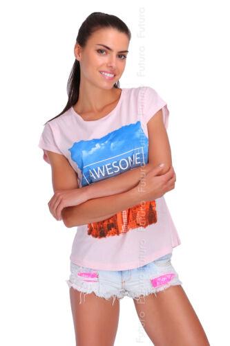 Camiseta increíble impresión Redondo Y Manga Corta Cuello Casual Fiesta TOP TAMAÑOS 8-14 fb127