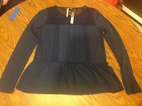 Lc Lauren Conrad Lace Yoke Mix Media Top Navy Blue Size Xs