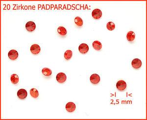 Cubic-Zirkonia-CZ-BUNT-zum-einschmelzen-20-St-RUND-2-5mm-PADPARADSCHA