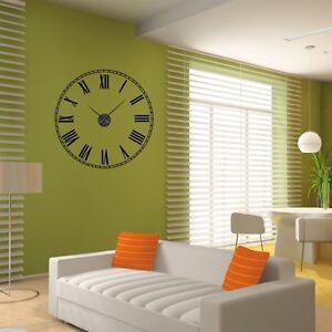 sticker mural horloge g ante cadran chiffres romains avec m canisme aiguilles ebay. Black Bedroom Furniture Sets. Home Design Ideas