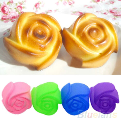 10X Silicone Rose Muffin Cookie Cup Cake Baking Mold Jelly Maker Mould New BA8A