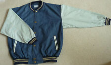 Light Weight, Mid Blue Denim / Light Color Sleeves Baseball Jacket (Size XL)