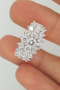 2-Ct-14K-White-Gold-Over-Diamond-Pyramid-Cocktail-Cluster-Woman-039-s-Ring