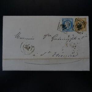 FRANCE CÉRÈS N°59 N°60A LETTRE COVER GC 198 AUBENAS - SAINT ETIENNE - France - Année d'émission: Avant 1900 - France