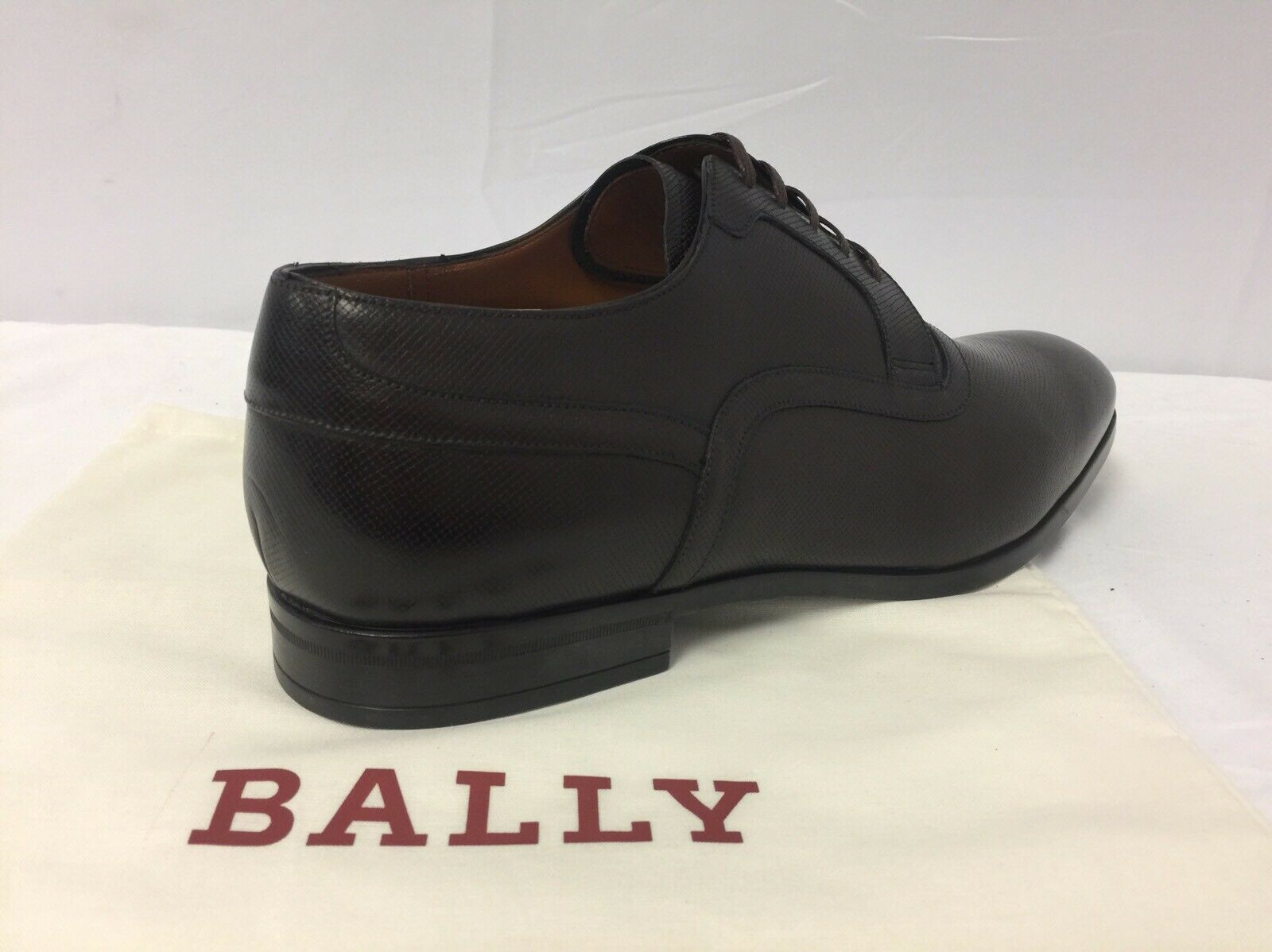 New In Box Box Box Bally 'Lauron' Brown Saffiano Pelle Derby Lace Ups 6.5/7.5  595.00 3633d5