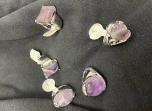 NEW Silver Rings Purple stone -5 Pack Bulk Lot- Various sizes & Styles