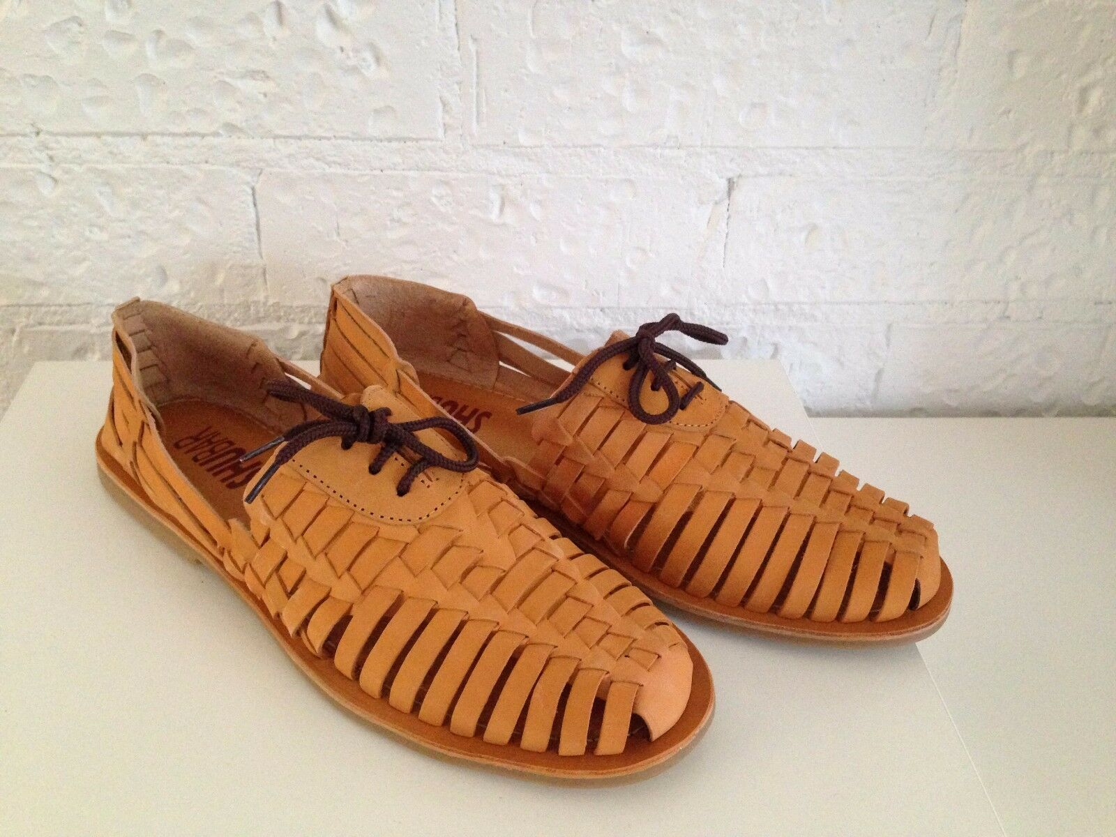 Men's Summer Flat Lace Up Light Tan Leather Woven Braided  Casual shoes 42-44