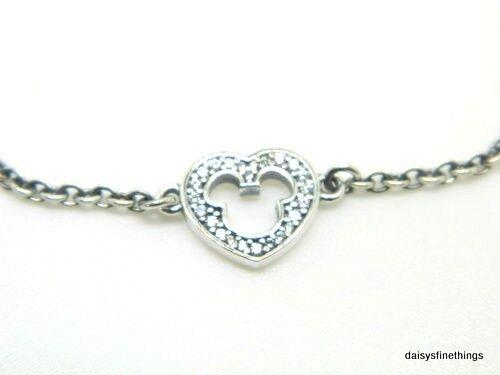 Pandora Disney Mickey Mouse Silhouette Heart Bracelet 7 1 590512cz 18 18cm Ebay