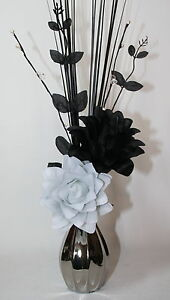 Artificial flowers black white silk dragon flower arrangement in image is loading artificial flowers black amp white silk dragon flower mightylinksfo