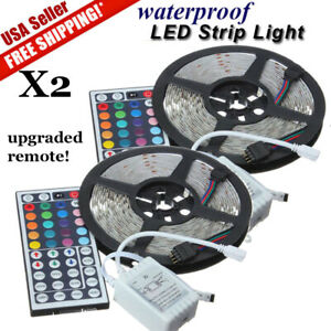 2-PCS-5M-16-4ft-5050-RGB-SMD-Waterproof-LED-Strip-Light-300-24-Key-Remote-DC-12V