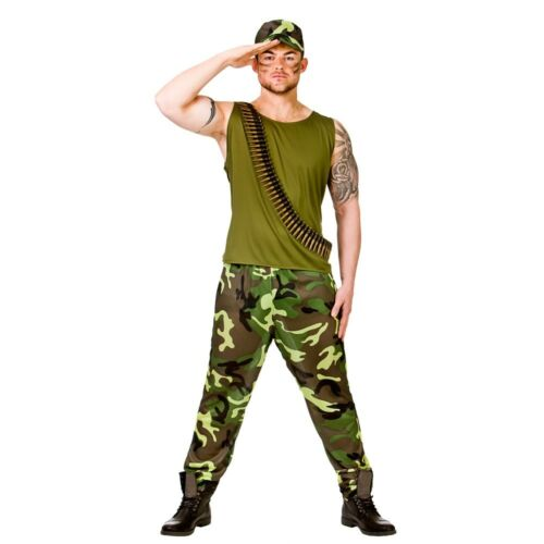 Khaki Combats Army Suit Mens Fancy Dress Military Adult Soldier Costume New