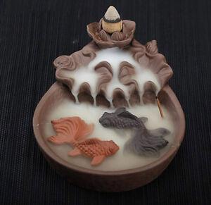 Ceramic-Incense-Burner-Backflow-Smoke-Waterfall-Censer-Decor-Gift-10x-Cones-USA