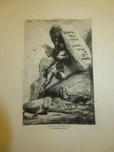 Nicolas CHIFFLART 1825-1901 GRAVURE ORIGINALE HOMME GEANT ILLUSTRATION NOUVELLE