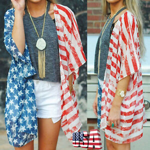 2cca587883d4d1 Image is loading Women-Patriotic-Short-Sleeve-American-Flag-Blouse-Casual-