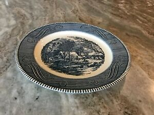 """CURRIER AND IVES BLUE by Royal (USA) DINNER PLATE 10 1/2"""" wide, Americana"""