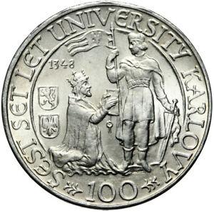Tschechoslowakei-Muenze-100-Korun-1948-600-Jahre-Karls-Universitaet-Silber