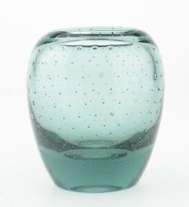 kleine-WMF-Dexel-Glas-Perlora-Vase-feine-Blasen-Bubbles-Turmalinglas-Mid-Century
