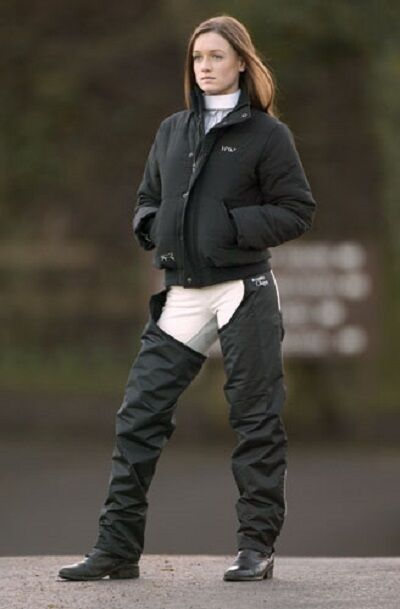 Horseware Unisex Caldo IMPERMEABILE FODERATO IN PILE BLU NAVY LUCIDO COMPLETO ChapsNERO XSXXL
