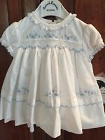 Sarah Louise Infant preemie/3m White Dress W/blue Embroidery/smocking-nwt