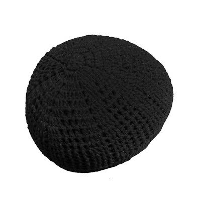 Hand-Crocheted Cotton White Skull Cap Open-Weave Comfortable Head Cover