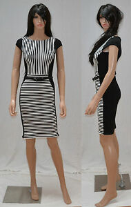 New-Womens-Sexy-Striped-Office-Business-Day-Casual-Pencil-Fitted-Belt-Dress