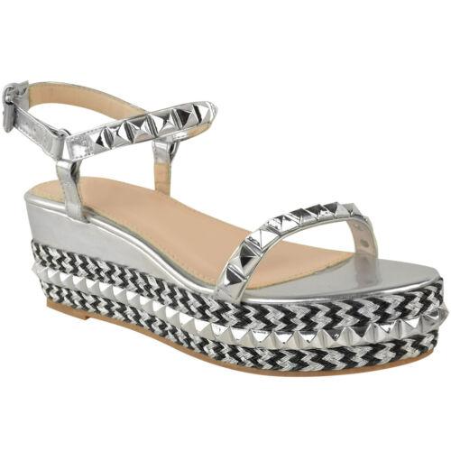 Womens Ladies Wedge High Heel Flatforms Stud Summer Sandals Platforms Shoes Size